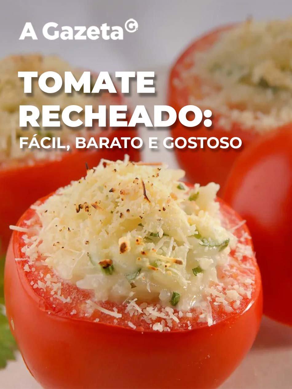 Quer uma dica de acompanhamento para a carne do seu almoço? Então, aqui vai uma receita simples e barata de tomates recheados. Confira.